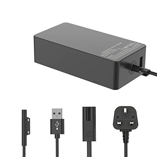 127W 15V/8A Surface Book/Go/Pro OEM Charger Power Supply Compatible with Microsoft Surface Book 1/2/3, Surface Laptop 1/2/3, Surface Pro 3/4/5/6/7/X, Surface Go 1/2 Laptop with 1.5m UK Power Cable