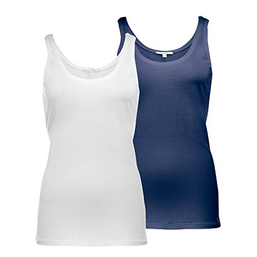 TOM TAILOR DENIM Damen Doppelpack Tanktop Trägershirt/Cami Shirt, weiss und Blau (10360), L