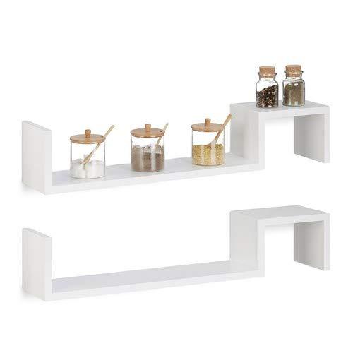 Relaxdays Hangkast, set van 2, boekenkast klein, houten rek om op te hangen, onzichtbare bevestiging, h x b x d: 15 x 80 x 15 cm, wit