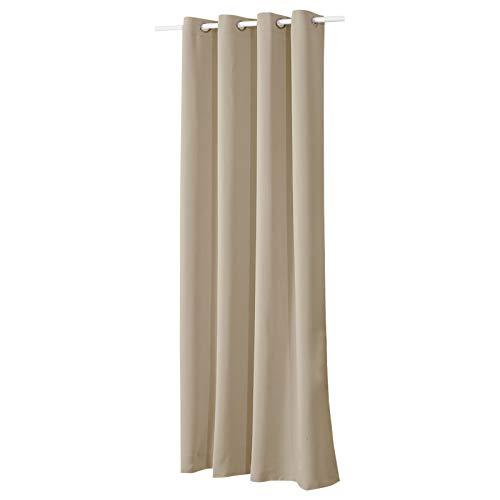 WOLTU #329, Vorhang Gardinen Blickdicht mit Ösen, 250g/m2 Schwerer Verdunkelungsvorhang Thermovorhang lichtdicht für Wohnzimmer Schlafzimmer Küche 135x225 cm, Sand, (1 Stück)