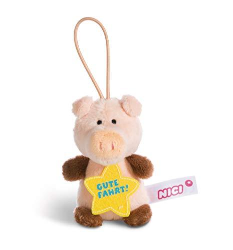 NICI 44870 Anhänger Schwein mit Spruch Gute Fahrt 8cm mit Loop, rosa/braun