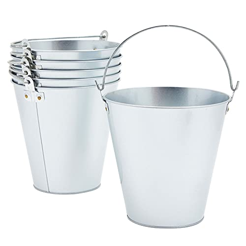 Juvale 6 Pack Galvanized Metal Buckets for Beer, Ice, Wine, Champagne, Parties, Centerpieces (7 inch, Silver)