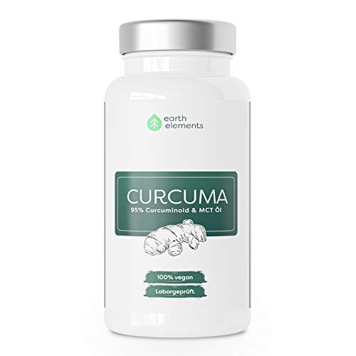 Earth Elements Curcuma-Kapsel - hochdosiertes Kurkuma-Extrakt, beste Bioverfügbarkeit mit MCT-Öl, ohne Piperin & Zusatzstoffe, 95{90fdcb9e9686a4c2109e447478fece45f3fe8a293aa341e064f7bcae1a0f720c} Curcuminoid, 2 Monats-Kur (60 Kapseln)