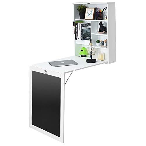 Giantex Wandtisch klappbar, Wandschreibtisch Wandklapptisch Holz mit 7 Fächern, Schreibtisch Laptoptisch Klapptisch Wandmontage für Arbeitszimmer Küche Wohnzimmer (weiß)