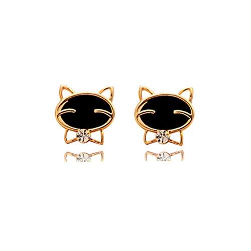 YZYZ Bonitos pendientes con diseño de gato negro con piedras de estrás en forma de gota, aceite, gato, para mujeres