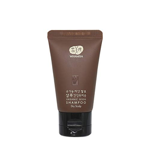 WHAMISA Organic Seeds Shampoo Dry Scalp - 28 Pflanzenstoffe gegen Trockene Kopfhaut - für Starkes Glänzendes Haar und Haarwachstum - Ohne Silikon Sulfate Parabene - Koreanische Naturkosmetik 20ml