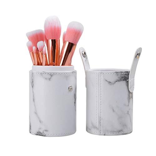 Minkissy 10pcs kit de pinceaux à maquillage avec support cosmétique portable brosse fondation pinceau blush eyeliner fard à paupières (blanc)