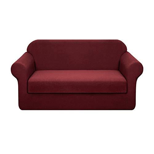 Topfinel Funda Elástica para Sofa Impermeable Antideslizante Protectoras Decorativos Cubre de Sofá de Poliéster a Prueba de Agua 140-180cm Borgoña