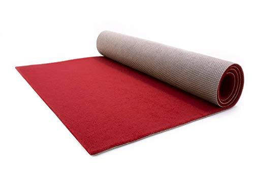Eventteppich Rutschfest SALSA - 1,00m x 11,00m Bordeaux Rot Hochzeitsläufer Hochzeitsteppich VIP-Teppich Schwer Entflammbarer Teppichläufer Empfangsteppich