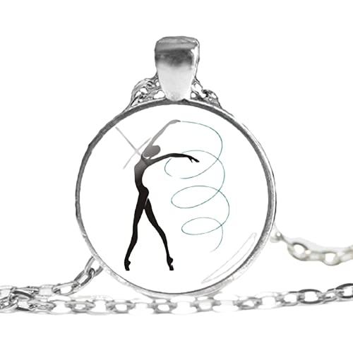 Collar con colgante de cristal de gimnasia, diseño de cúpula, para fotografía, diseño de fotografía