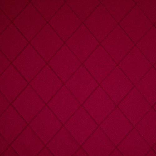 Tela para Cortina de decoración Inglesa, por Metros, difícilmente inflamable, pespunteada, Color Rojo, Lana Virgen, Poliamida, absorción de Ruido, oscurecimiento, Opaca.