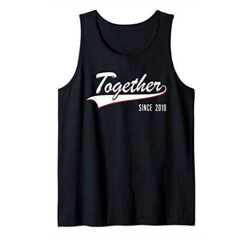 10th Wedding Anniversary Couple Gift Together since 2010 Tank Top