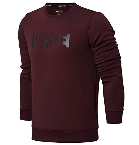 LI-NING Men Wade Po Knit Sweaters Hoodies Fitness Interlock Regular Fit Casual Sports Hoodies Wine Red AWDN007 Size XL
