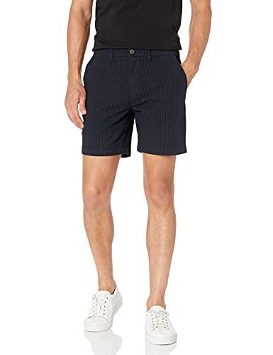 "Amazon Brand - Goodthreads Men's 7"" Inseam Stretch Seersucker Short, Navy 32"