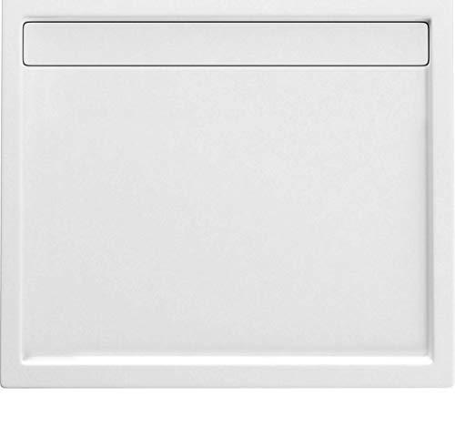 Diana Duschtasse Duschwanne Flach 5 cm Wanne für Duschabtrennung Duschkabine mit Auflaufrinne (80 x 90 cm)