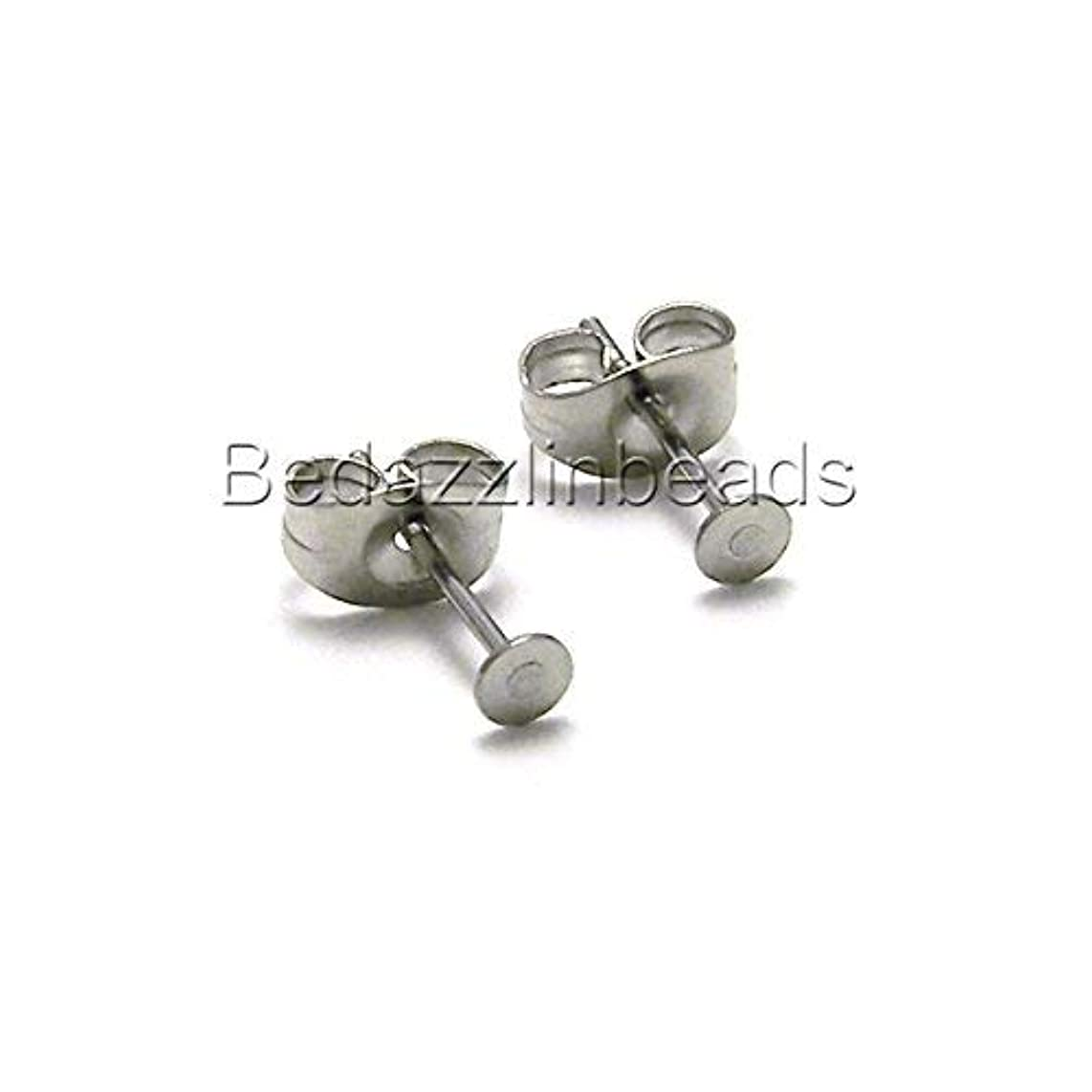 20 Hypo-Allergenic 304 Grade Stainless Surgical Steel Flat Pad Setting Earring Findings with Backs (3mm Pad)
