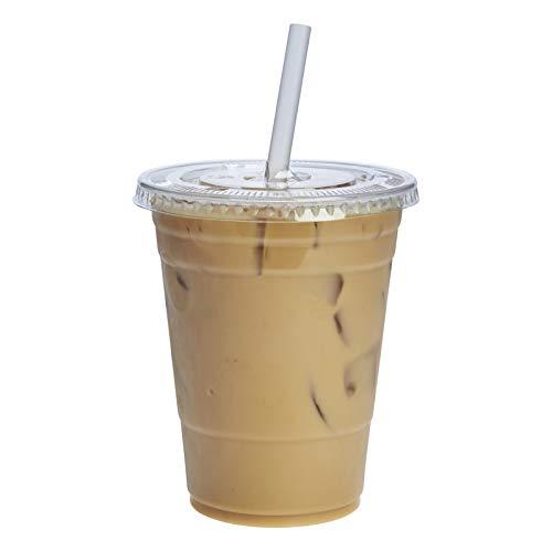 [100 Sets - 16 oz.] Plastic Cups With Flat Lids