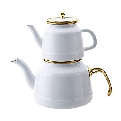SmartyX Troy Turkish Teapot - Enamel Induction Compatible Retro Design Nostalgic Samovar Kettle (White)