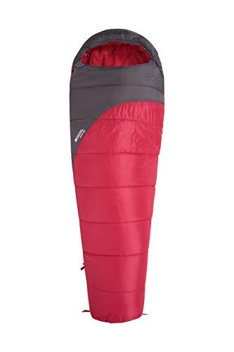Mountain Warehouse Saco de Dormir Summit 300-23 x 41 cm - Cómodo, Saco de Dormir cálido Rojo Oscuro Cremallera Zurdo - Longitud Larga