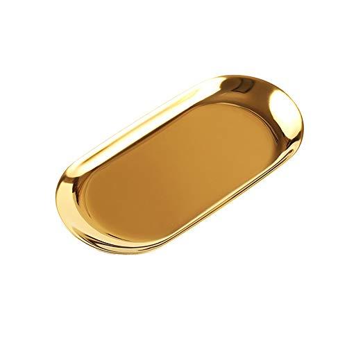 Wilany Goldfarbenes ovales Tablett aus Edelstahl für Kosmetik, Schmuck, Handtuch, Obst, Gold, ovales Edelstahl-Schmucktablett, Teller, Tee, Obsttabletts