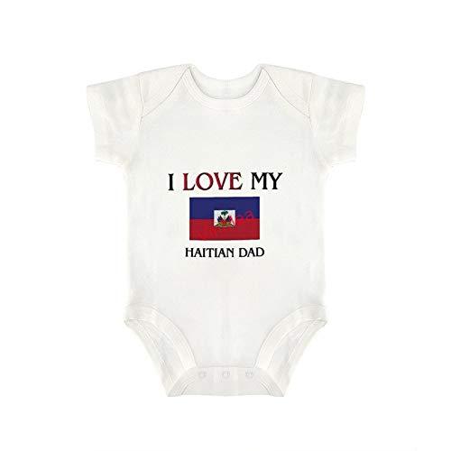 VinMea Baby Bodysuits Funny Short Sleeve I Love My Haitian Dad for Sweet Baby Girls & Boys (6-9 Months)