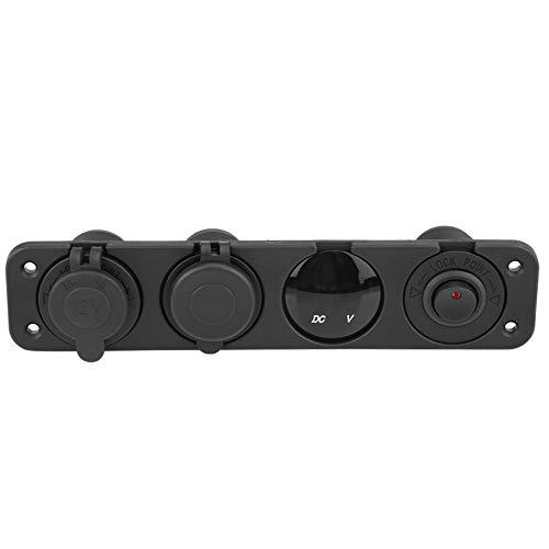 Cargador USB doble, multifunción 12-24 V LED Cargador USB digital Encendedor de cigarros Toma de corriente Durable para conductor de motocicleta para motocicleta para caravana(rojo)
