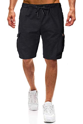 Yesgirl Bermuda Uomo Tasconi Cargo Pantaloncini Palestra Laterali Tasche Zip Pantaloncino Ragazzo Fitness Shorts Running Jogging Estivi per Tempo Libero Pantalone Corti in Felpa Z2 Nero 02 Medium