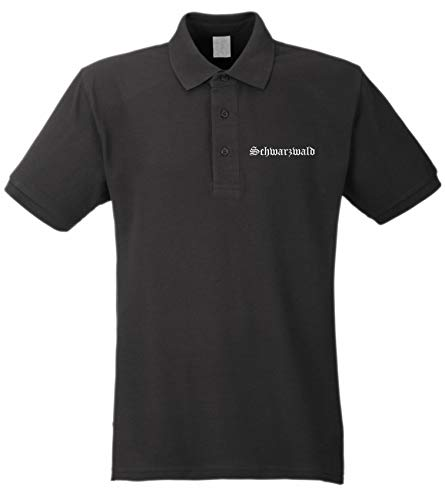 Schwarzwald Poloshirt - Altdeutsch - Bestickt - Polohemd Piqué Shirt Schwarz 2XL