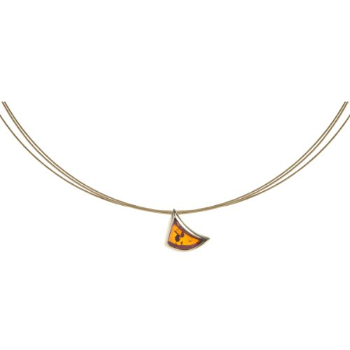 InCollections Damen-Halskette 333 Gelbgold 1 Bernstein gelb 42 cm 241A103427100