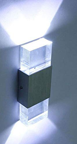 6W LED Quadrat Schlafzimmer Hotel Nachttischlampe Aluminium Kristall Wandlampe Acryl Ziegel...