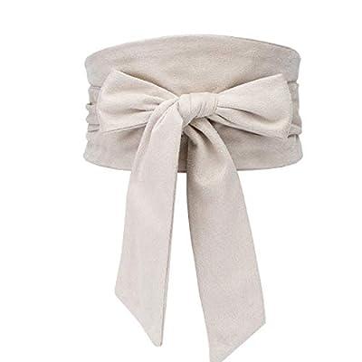 shengweiao Women's Self Tie Wrap Around Obi Soft Wide Waist Band Cinch Boho Dress Belt
