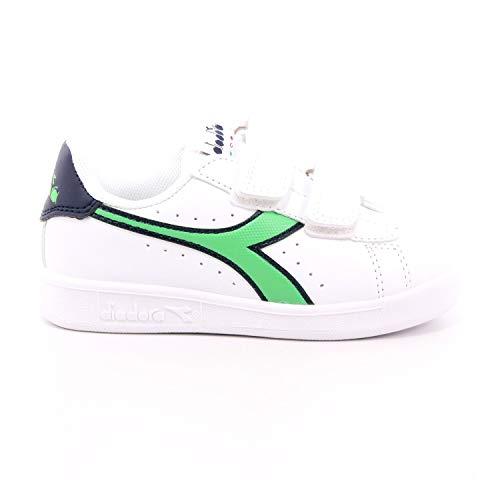 Diadora Game P TD, Zapatillas Deportivas Unisex niños, White Black Iris Classic Green, 26 EU