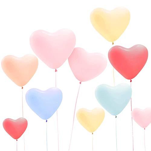 Gxhong Pastel Globos 100PCS, 12 Inch Macaron Balloon Globos de Colores Surtidos Globos de Helio Globos de corazón Globos de látex Surtidos para niñas Boda Decoración de Fiesta de cumpleaños