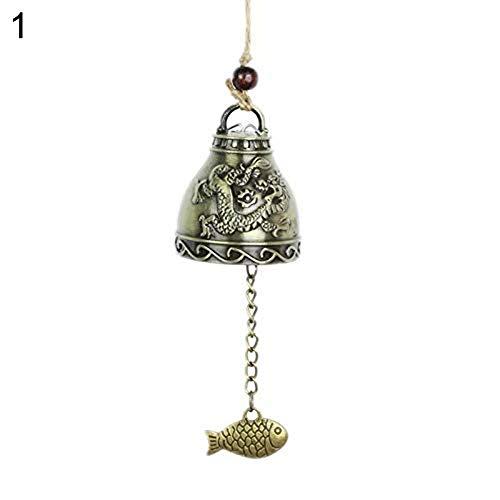 Lsgepavilion Vintage Metall Fengshui Glocke hängend Windspiel mit Drachen Phönix Muster Skulptur Home Window Decor, Zinklegierung, 1#, Einheitsgröße