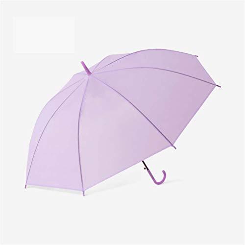 DFSDG 8 Costillas Mango Largo Automático Paraguas Transparente Clear Degradado Helado Color para niños Publicidad Paraguas (Color : Purple)