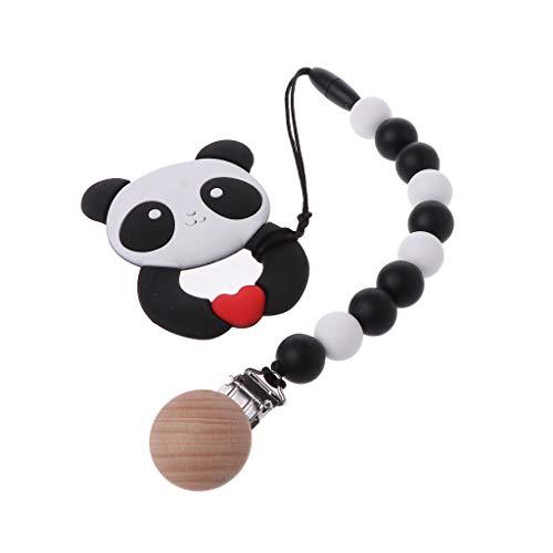 JIUYECAO Love Panda Mordedor (con cadena de chupito, anillo de mordedor de bebé con clip de cadena de chupete Panda Bpa gratis de silicona mordedores de dentición masticar juguete regalo infantil
