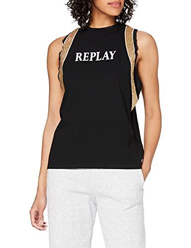 REPLAY W3535 .000.22660 Camiseta, Negro (098 Black), XL para Mujer