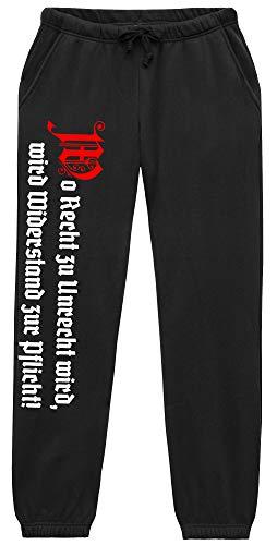 Uglyshirt89 Wo Recht zu Unrecht Wird Männer und Herren Jogginghose | Revolution Osten Zitat (M, Schwarz)