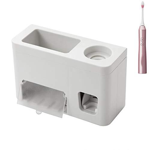 Soporte para cepillos de dientes, 1 unidad de manos libres con dispensador de pasta de dientes, soporte para cepillo de dientes eléctrico, soporte para cepillo de dientes y accesorios de baño