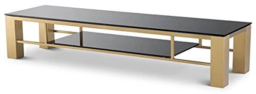 Casa Padrino Armario de TV de Lujo latón/Negro 195 x 55 x A. 38 cm - Aparador de Acero Inoxidable con Tapas de Vidrio - Muebles de salón de Lujo