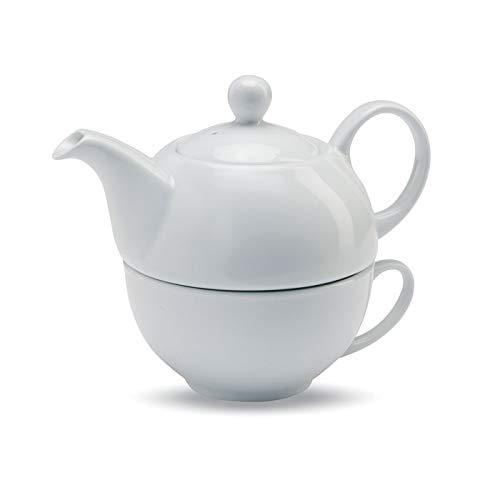 Publiclick® Set Tetera y Taza Tea Blanco,Medidas 12,5X12,5X13 CM,Conjunto de té Compuesto por 1 Tetera de 400 ml y 1 Taza de cerámica Blanca. Presentado en Caja Regalo.