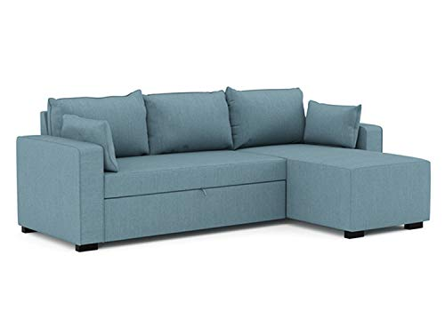 Confort24 Leah Hoekbank in L-vorm, omzettbaar, 3-zits, ligstoel rechts of links, van stof, woonkamerdecoratie Modern design Trois Places Lichtblauw