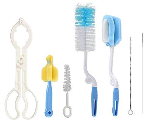 SYGA 7 Pcs Baby Milk Bottle Nipple Straw Brush Sponge BPA Free PP Cleaning Brush Cleaner Bottle Tong Set…