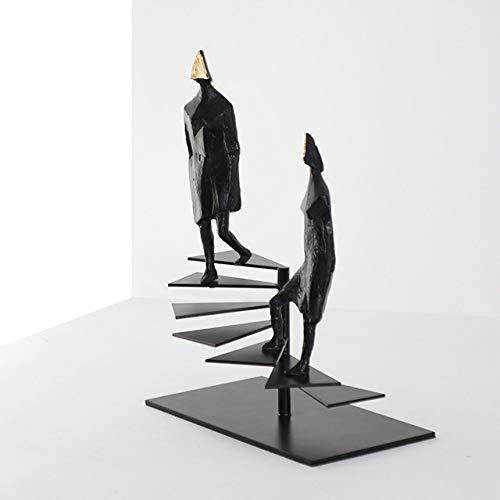 LISAQ Due Figure astratte in ghisa in Piedi sulla Scala a chiocciola Scultura Figurine Moderna Creativa al Piano di sopra Ornamenti di Caratteri Decorazione Domestica