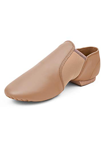 STELLE Leather Jazz Slip-On Dance Shoes for Adult Women(Tan, 9MW)