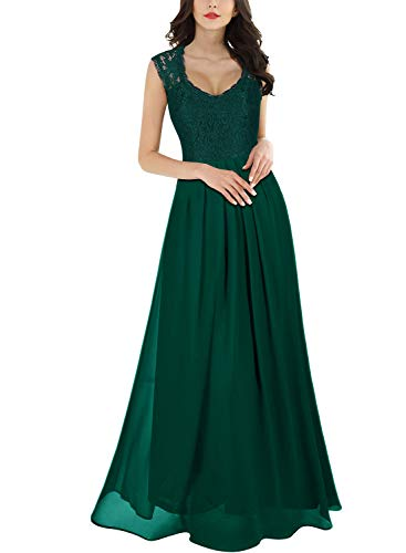 Miusol Women's Casual Deep- V Neck Sleeveless Vintage Maxi Dress (XX-Large, Green)