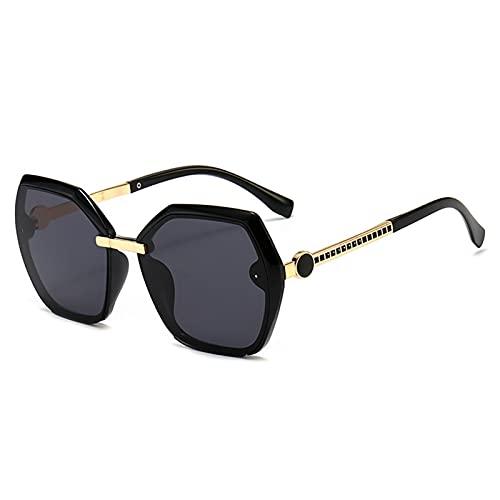 Gafas de Sol, Gafas de Sol para Mujer, Patas de Metal Transparente, Gafas de Sol poligonales, Bolsa de Gafas Gratis (Color : 01)