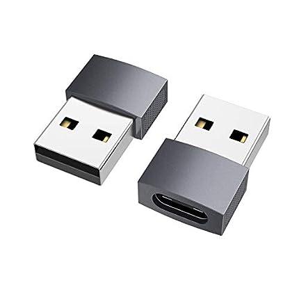 nonda Adaptador USB C a USB (2 Pack), USB-C Hembra a USB Macho, Adaptador de Cable de Cargador Tipo C para iPhone 11 12 13 Pro MAX, Samsung Galaxy S20 /S21 Plus Note 10 S10+ Ultra A90 5G A71
