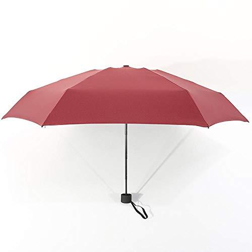 Parasol Parapluie Petite Mode Ultra Léger 5 Parapluie Pliant Pluie Femmes Hommes Mini Poche Revêtement Non-Noir Fille Imperméable Portable Parapluies Rouge