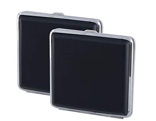 2X Zigarettenetui aus leichtem Metall mit schwarzem Lederimitat, schöne Zigarettenbox mit Platz für 20 Zigaretten